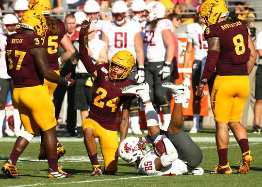 Arizona State Sun Devils defensive back Chase Lucas (24) reacts after tackling Washington State Cougars wide receiver Calvin Jackson Jr. (85) in the second half during a game on Oct. 12, 2019 in Tempe, Ariz.