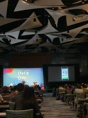Duolingo's lead designer, Jack Morgan, speaks at Phoenix Design Week's Evolve Design Conference on Oct. 12, 2019.