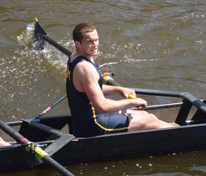 Marysville native Jeremy Latham competes for the University of Michigan men's rowing team during an April 2018 meet in Cherry Hill, N.J.