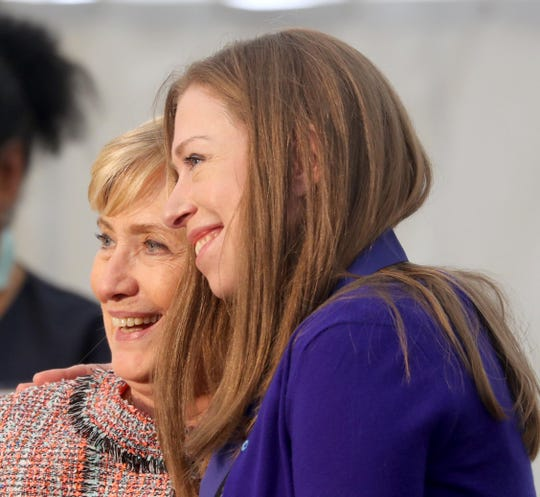 Hillary Clinton stands with her daughter Chelsea after presenting her with the Eleanor Roosevelt Val-Kill Medal during a ceremony at the Eleanor Roosevelt National Historic Site in Hyde Park, N.Y. Oct. 13, 2019. Chelsea Clinton was one of five human rights and social justice activists to receive the 2019 medal. Hillary Clinton is a past recipient of the honor.