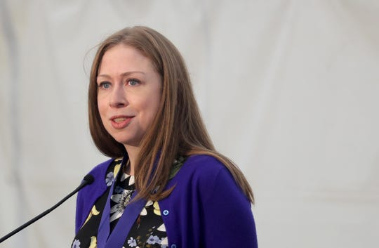 Chelsea Clinton speaks after receiving the Eleanor Roosevelt Val-Kill Medal during a ceremony at the Eleanor Roosevelt National Historic Site in Hyde Park, N.Y. Oct. 13, 2019. Clinton was one of five human rights and social justice activists to receive the 2019 medal. Hillary Clinton, a past recipient of the honor, presented her daughter with the medal.