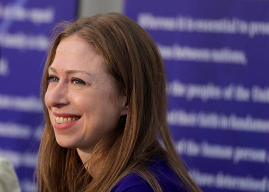 Chelsea Clinton received the Eleanor Roosevelt Val-Kill Medal during a ceremony at the Eleanor Roosevelt National Historic Site in Hyde Park, N.Y. Oct. 13, 2019. Clinton was one of five human rights and social justice activists to receive the 2019 medal. Hillary Clinton, a past recipient of the honor, presented her daughter with the medal.