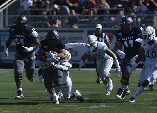 Nevada takes on San Jose State during their football game at Mackay Stadium in Reno on Oct. 12, 2019.