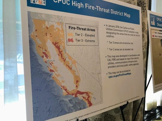 A map shows fire-threat areas at a PG&E open house in June 2019.