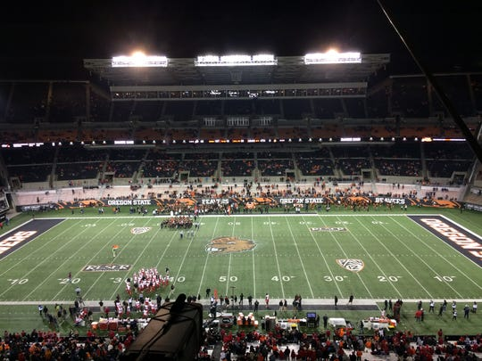 Reser Stadium sits nearly empty during the second half Saturday during the Beavers' loss to Utah.
