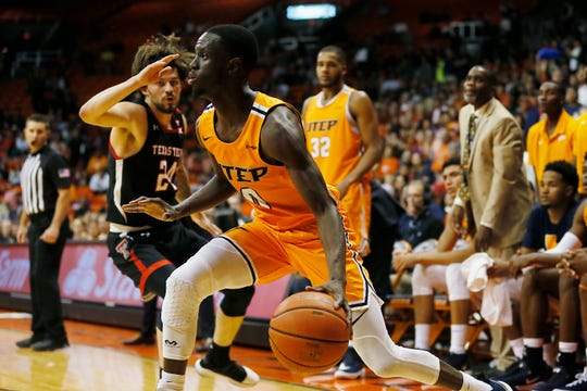 UTEP's Souley Boum goes against Texas Tech defense during the game Saturday, Oct. 12, at the Don Haskins center in El Paso.