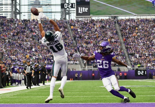 Mack Hollins (16) of the Philadelphia Eagles is unable to catch the ball against Trae Waynes (26) of the Minnesota Vikings during the second quarter of the game at U.S. Bank Stadium on Sunday, Oct. 13, 2019 in Minneapolis.