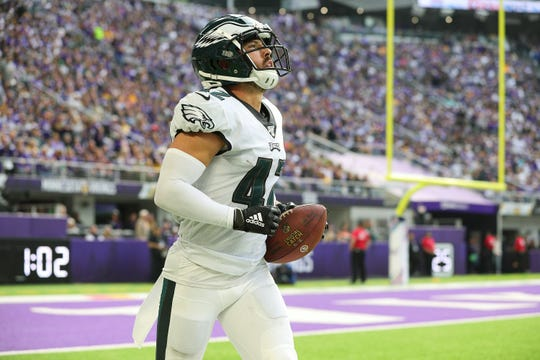 Andrew Sendejo of the Philadelphia Eagles celebrates an interception in the second quarter against the Minnesota Vikings at U.S. Bank Stadium on Sunday, Oct. 13, 2019 in Minneapolis.