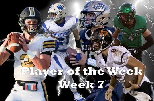 Nominees for Player of the Week are Henrietta's Jonah Lyde, Windthorst's Awtry Blagg, Rider's Jacob Rodriguez, Nocona's Carter Horn and Iowa Park's Cirby Coheley.