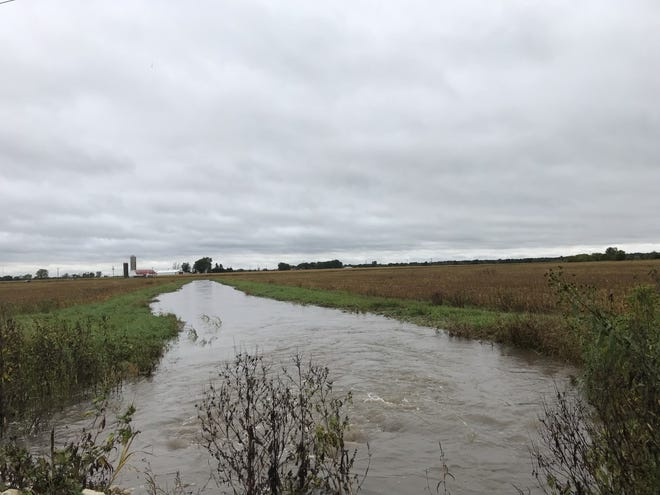 This grassy waterway between two soybean fields is again filled with water following yet another heavy October rain, delaying harvest for farmers across Wisconsin.