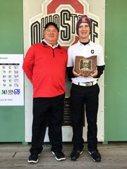 Crooksville coach Brian Carney, left, poses with his son, Owen Carney, after he finished fifth of 72 players at the Division III state tournament at Ohio State. Owen earned first-team All-Ohio honors.