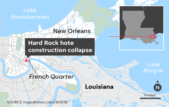 The 18-story Hard Rock Hotel was expected to be a major boost to the revitalization efforts for Canal Street in New Orleans.