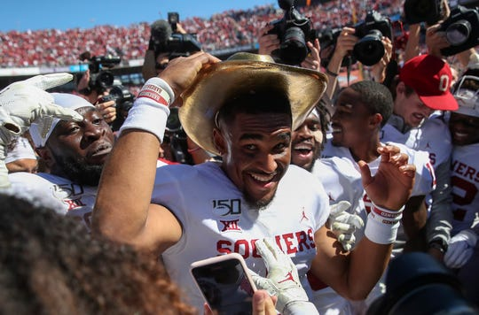 Oklahoma Sooners quarterback Jalen Hurts wears the Golden Hat after the game against the Texas Longhorns at the Cotton Bowl.