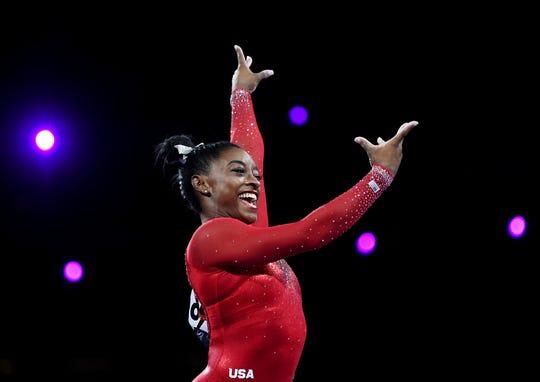 Simone Biles on Day 9 of the Gymnastics World Championships.