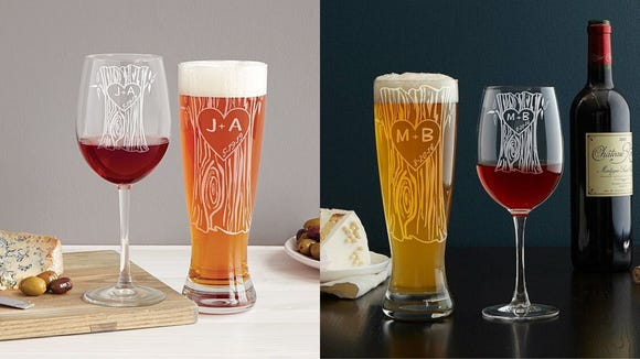 Best personalized gifts 2019: Tree Trunk Glassware Duo