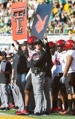 Oct 12, 2019; Waco, TX, USA; Texas Tech Red Raiders head coach Matt Wells looks on from the during the second half against the Baylor Bears at McLane Stadium. Mandatory Credit: Ray Carlin-USA TODAY Sports