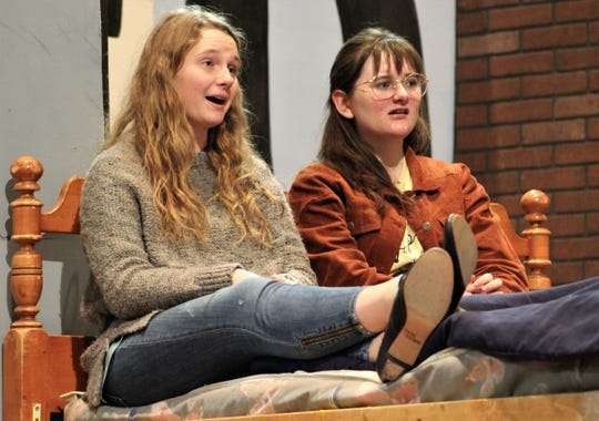 "Susan B. Anthony (Natalie Porter, left) talks with her bedridden friend Elizabeth Cady Stanton (Hannah Hillis) in this rehearsal scene from ""This One Thing I Do,"" Abilene High School's fall drama that will be performed this weekend."