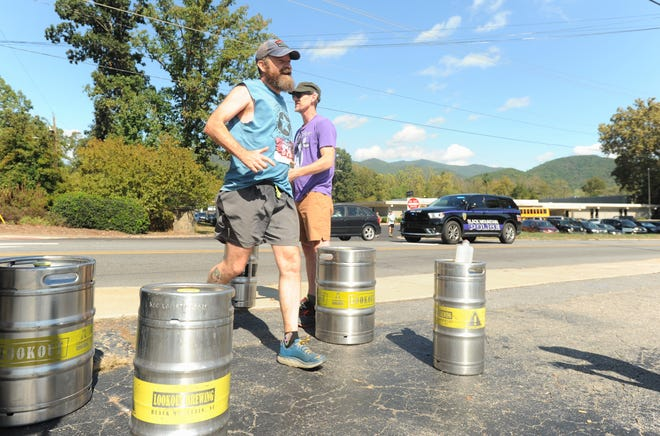 Lookout Brewing Co. kegs mark the finish line for the 2019 Lookout to Lookout to Lookout 10-mile Race, which brought 180 runners to Black Mountain, Oct. 12.