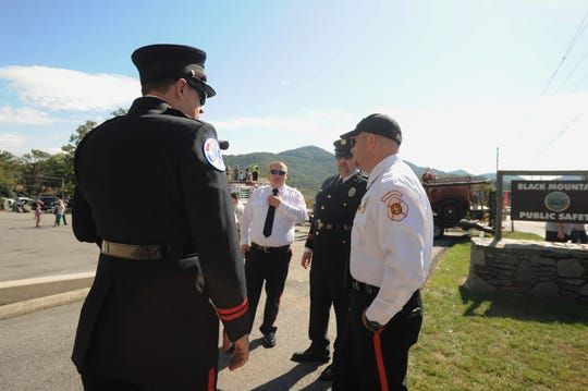 Firefighters representing agencies across the region showed up in Black Mountain, Oct. 12, to recognize 100 years of service by the town's fire department.