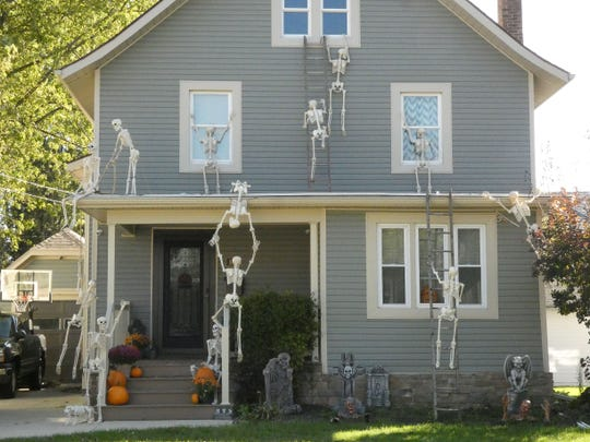 Skeletons invade a home at 844 Rogers Street.