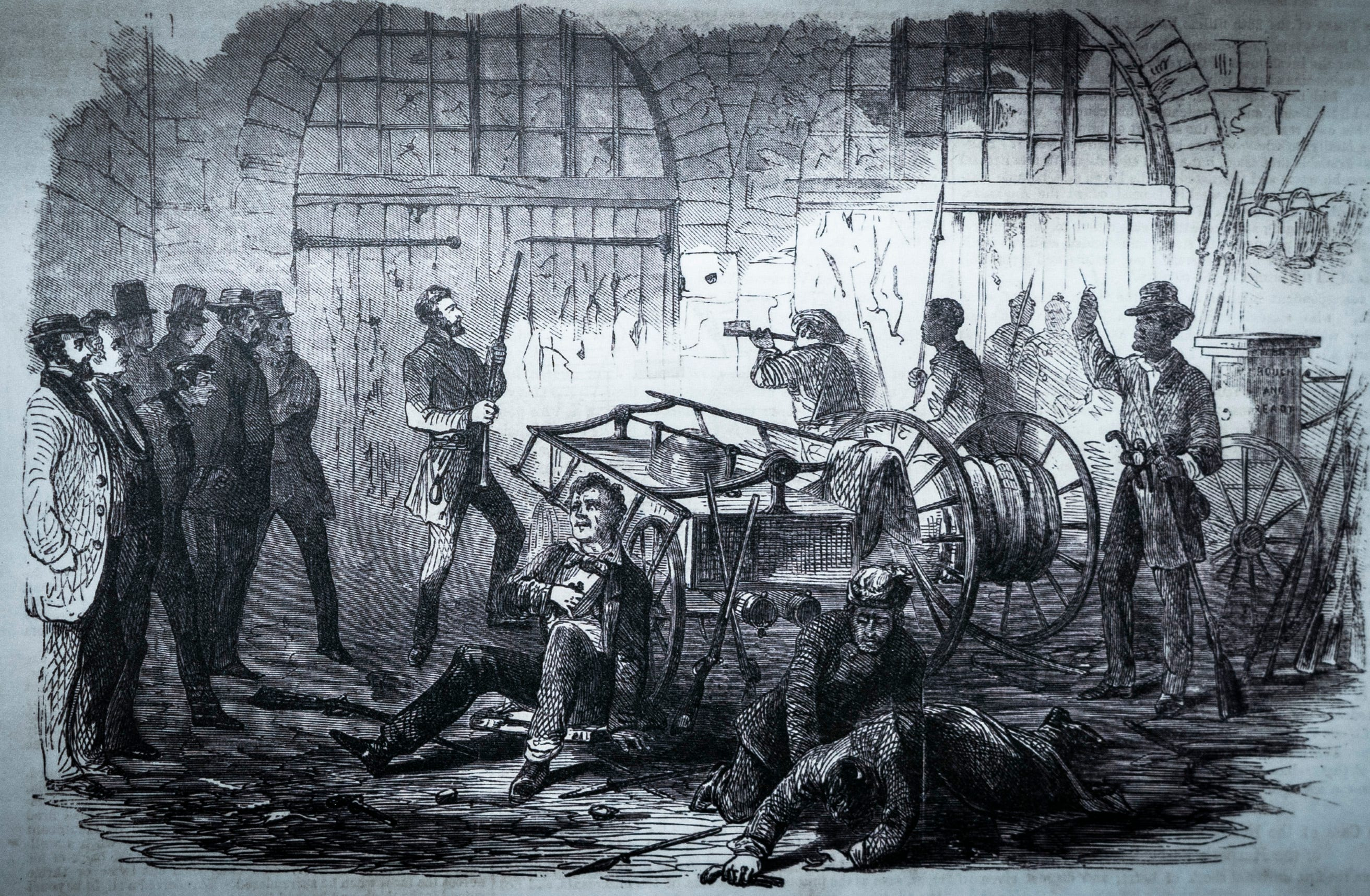 'Harper's Ferry insurrection - interior of the Engine-House' Frank Leslie's illustrated newspapers,1859, from of the library of Congress. The illustration shows John Brown and his men after being surrounded. Seen at the John Brown Farm historic site in North Elba, New York, where Brown is buried. A militant abolitionist, Brown attacked the federal armory on October 16, 1859, in hopes of sparking an armed slave uprising.
