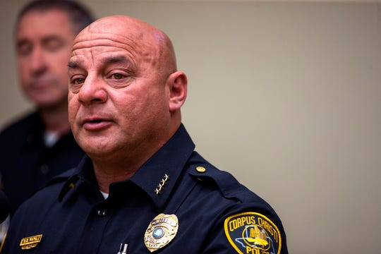Corpus Christi Police Chief Mike Markle speaks Monday, October 14, 2019, about the officer-involved shooting in which a man wielding a baseball bat was shot and killed Sunday, October 13, 2019, by officers with the Corpus Christi Police Department.