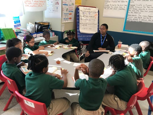 Frances Lawrence, a Camden native, teaches a 2nd grade class at Uncommon Camden Prep, in the building that was formerly home to Bonsall Elementary in Camden.