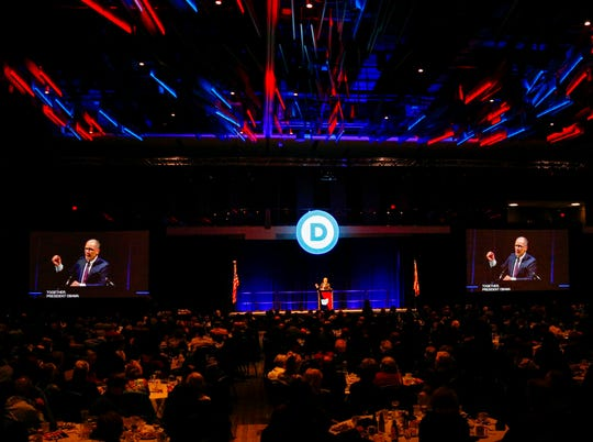 Democratic National Committee Chair Tom Perez speaks at the Ohio Democratic Party's 2019 state dinner on Sunday.