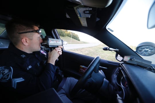 Corporal Josh Nezi with Erlanger police monitors traffic as part of traffic enforcement blitz on October 14, 2019.