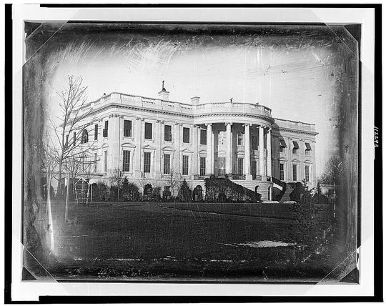 President's house (i.e., White House), Washington, D.C., showing south side, probably taken in winter.