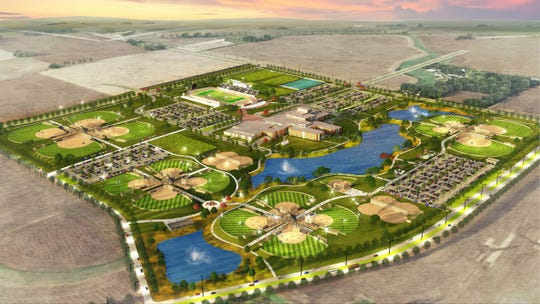 Rendering of City of Waukee's future youth sports complex and Northwest High School.