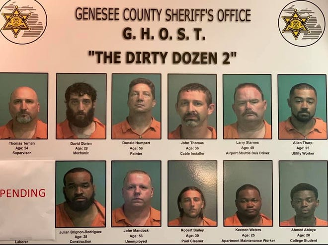 A dozen people are facing human trafficking charges in Genesee County.