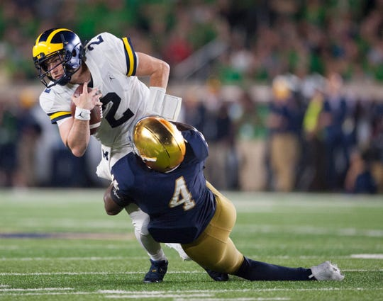 Quarterback Shea Patterson (2) and Michigan play host to Notre Dame on Oct. 26 in a game scheduled to start at 7:30 p.m. It will be broadcast on ABC.