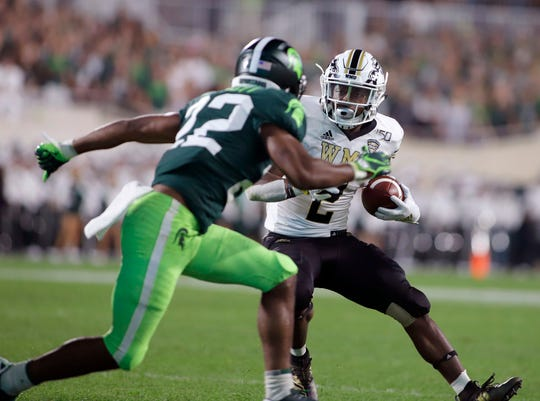 Western Michigan senior LeVante Bellamy (2) ranks fourth nationally with 764 yards rushing, averaging 6.2 yards a carry.