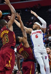 Pistons guard Bruce Brown had 15 points, seven assists and five rebounds Friday night against the Cavaliers.