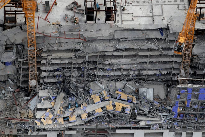 The Hard Rock Hotel, which was under construction, after a fatal partial collapse in New Orleans, Saturday, Oct. 12, 2019.