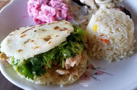 A Venezuelan arepa stuffed with chicken at Los Alfaro's.