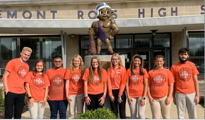 The Link/Interact Club of Fremont Ross High School tapped board members for 2019-20. They are left to right, Ivan Starkweather, community school service director, Kayla Glotzbecker, club service director; Aaron Chavez, social director; Tannah Bower, secretary; Chelsea Aberg, community service director; Bridget Thomas, president, Mekhaia Williams, vice president; Lilah Baumann, treasurer; and Nathaniel Watts, international service director.
