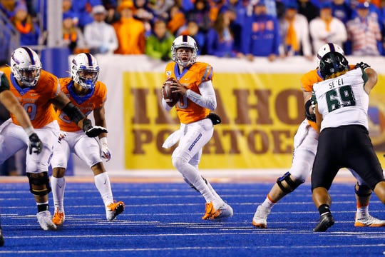 Boise State quarterback Chase Cord, who replaced injured starter Hank Bachmeier, threw for three touchdowns Saturday to lead the Broncos to a 59-37 win over Hawaii.