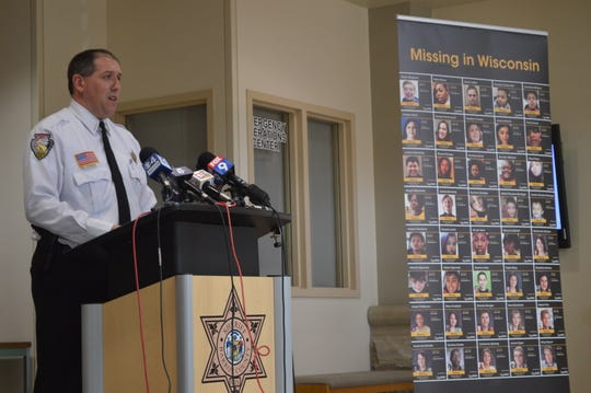 Barron County Sheriff Chris Fitzgerald speaks at a news conference Monday, Oct. 14, 2019, in Barron, Wis. Fitzgerald addressed the media ahead of the one-year anniversary of the abduction of Jayme Closs and the murder of her parents.