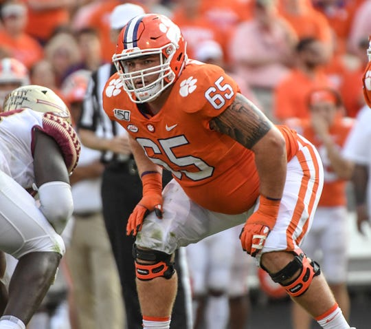 Clemson offensive lineman Matt Bockhorst (65) lines up with Florida State during the third quarter at Memorial Stadium in Clemson, South Carolina Saturday, October 12, 2019.