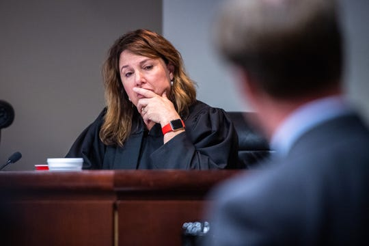Judge Letitia Verdin listens to arguments from Solicitor Walt Wilkins at 17-year-old Miguel Cano's sentencing Monday, October 14, 2019, who stabbed his mother, 44-year-old Isabel Zuluaga 28 times in their Simpsonville home in September of 2015 when he was 13. Judge Letitia Verdin sentenced Cano to 23 years in the South Carolina Department of Corrections.