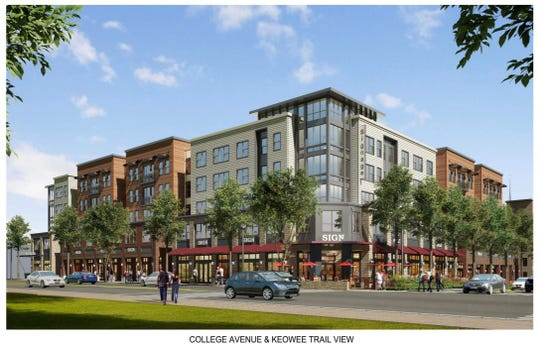 The view of the proposed 405 College Ave. off-campus student apartments a Keowee Trail and College Ave. in Clemson. Gilbane Development Company is set to demolish the current retail shops at the location before the end of the year, according to City Planning and Codes Director Todd Steadman.