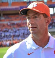 Clemson Head Coach Dabo Swinney before the game with Florida State at Memorial Stadium before the game with Florida State in Clemson, South Carolina Saturday, October 12, 2019.