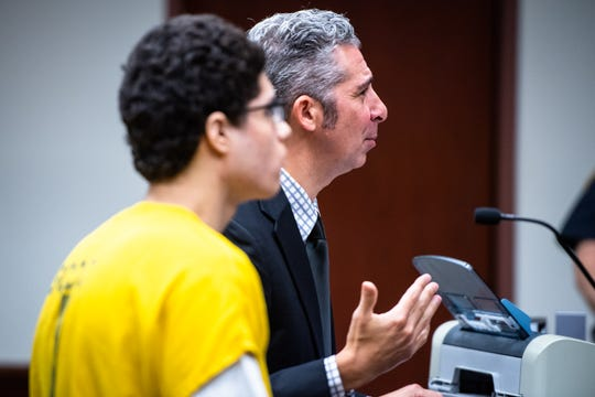 Chistopher Scalzo, a public defender representing Miguel Cano, 17, speaks at his sentencing Monday, October 14, 2019, for stabbing his mother, 44-year-old Isabel Zuluaga 28 times in their Simpsonville home in September of 2015 when he was 13. Judge Letitia Verdin sentenced Cano to 23 years in the South Carolina Department of Corrections.