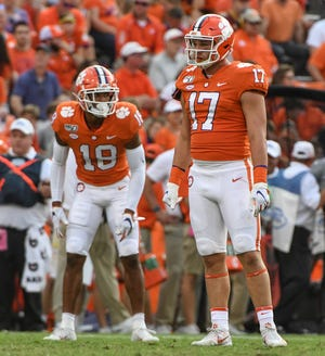 Clemson defensive back Joseph Charleston(18) and linebacker Kane Patterson (17) line up against Florida State during the fourth quarter at Memorial Stadium in Clemson, South Carolina Saturday, October 12, 2019.
