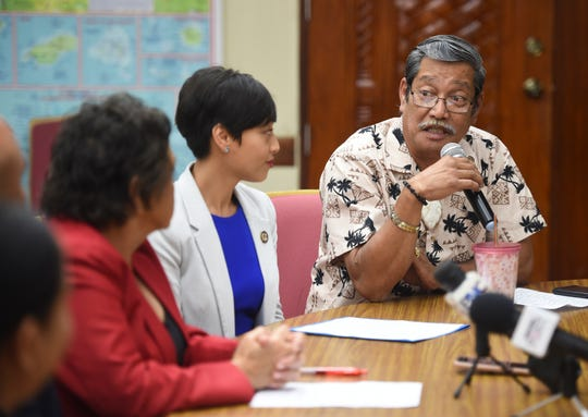 Sen. Joe San Agustin speaks during a press conference at the Ricardo J. Bordallo Governor's Complex in Adelup, Oct. 14, 2019.