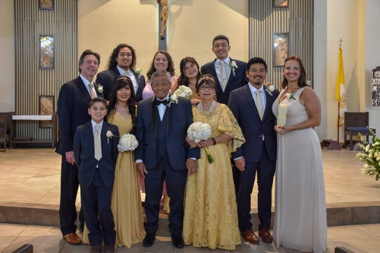 Roger and Lettie Nafrada, residents of Dededo, celebrated their 50th wedding anniversary this summer in California. The couple got married July 19, 1969 at the Agana Cathedral Basilica. They have two children, Rod (graduated from Father Duenas class of 1988) and Rachel (graduated from Academy of Our Lady of Guam class of 1991). Back row from left: Kyle, Emily, Elizabeth, and Sean. Front row from left: Jesse, Quentin, Rachel, Roger and Lettie, Rod and Magda.