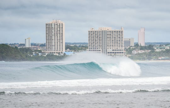 Waves break in Agana Bay on Oct. 14, 2019.