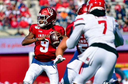 Indiana Hoosiers quarterback Michael Penix Jr. (9) looks for an open receiver on Oct. 12 against the Rutgers Scarlet Knights at Memorial Stadium.